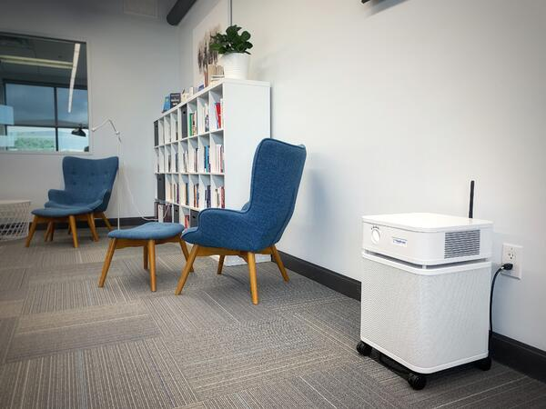 a smart connected portable air purifier in an office space