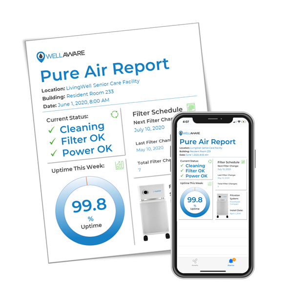 air purification remote monitoring mobile app report dashboard