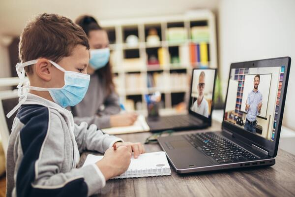 remote learning with coronavirus mask